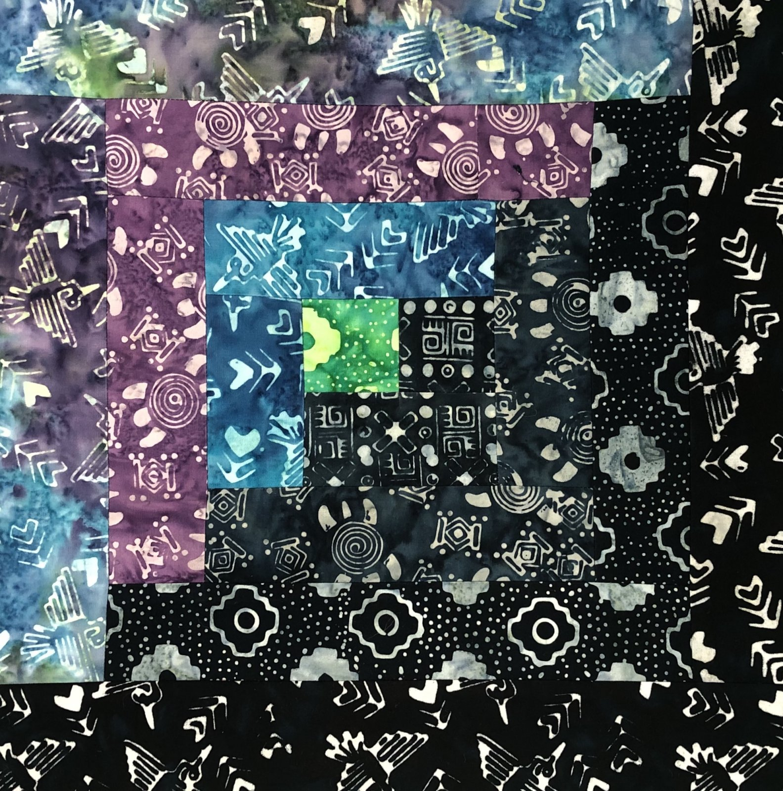 **NEW** Pre-Cut Log Cabin Kit - Ancient Etchings - Blue/Green/Purple