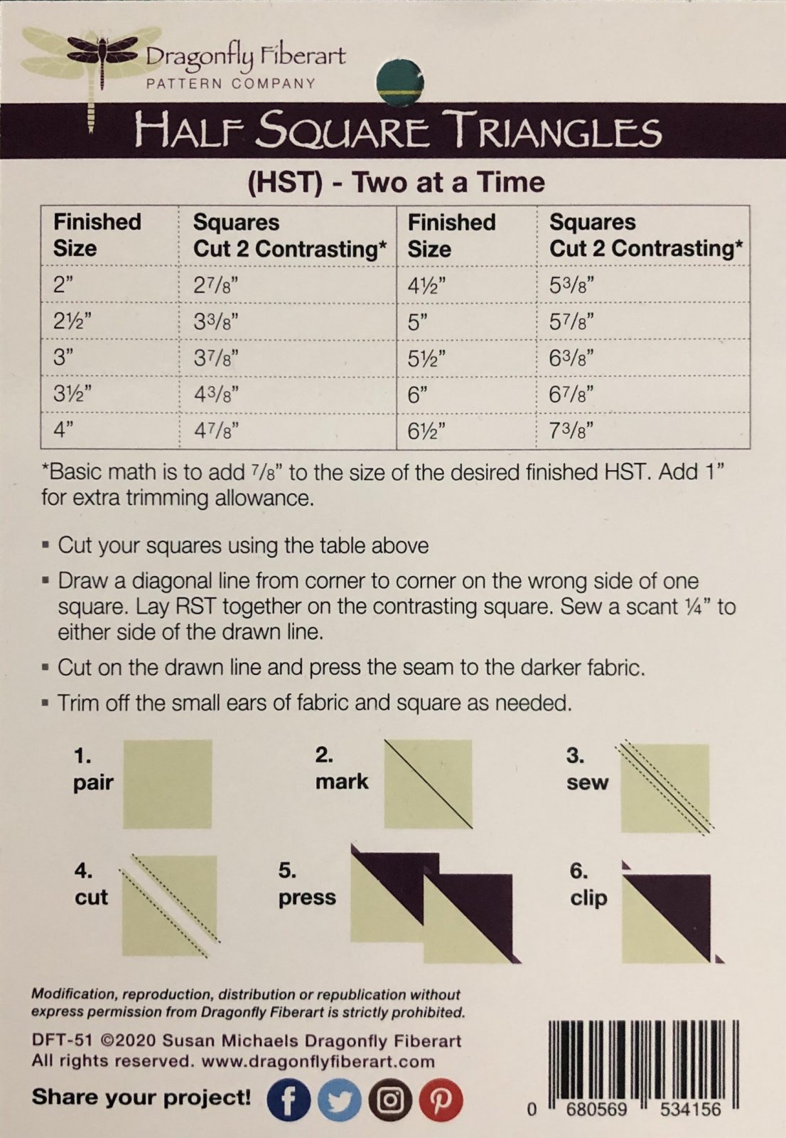 Half Square Triangle Learning Series Cards