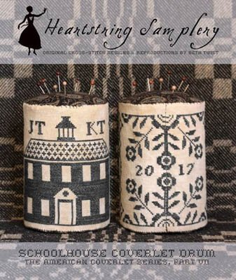 Schoolhouse Coverlet Pin Drum ~ Heartstring Samplery