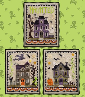 Halloween House Trio ~ Waxing Moon