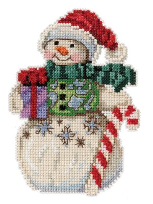 Snowman with Candy Cane ~ Mill Hill