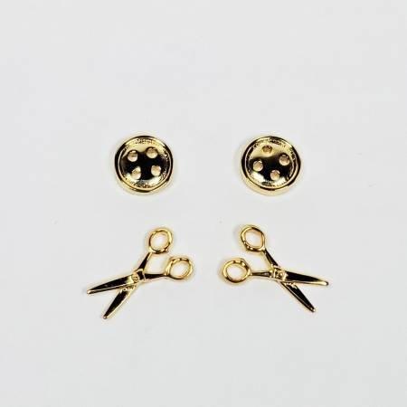 Button & Scissors Earrings ~ Gold