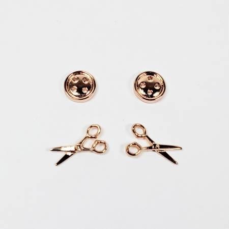 Button & Scissors Earrings ~ Rose Gold