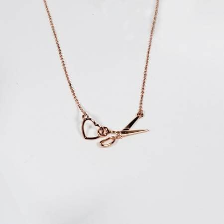 Scissor & Heart Cham Necklace ~ Rose Gold