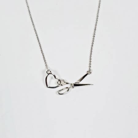 Scissor & Heart Charm Necklace ~ Silver