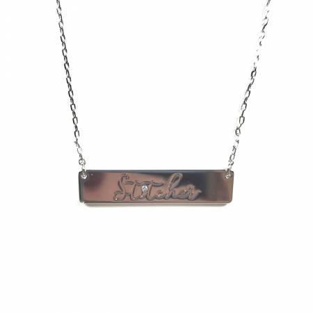 Stitcher Bar Necklace ~ Silver