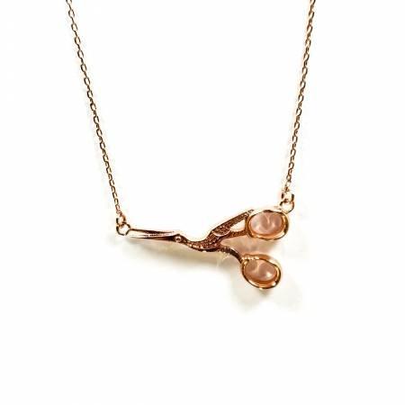 Stork Scissor Necklace ~ Rose Gold