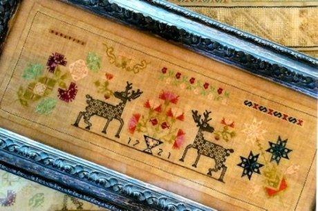 Checkerboard Stag Sampler 1721 ~ Samplers Remem