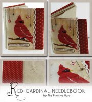 Red Cardinal NeedleBook ~ Primitive Hare