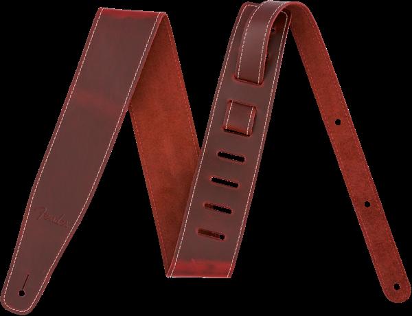 FENDER BROKEN-IN LEATHER STRAP, 2.5 RED