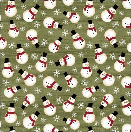 Crossroads Snowman Green (A Jingle Bell Christmas) by Benartex (10311-44)