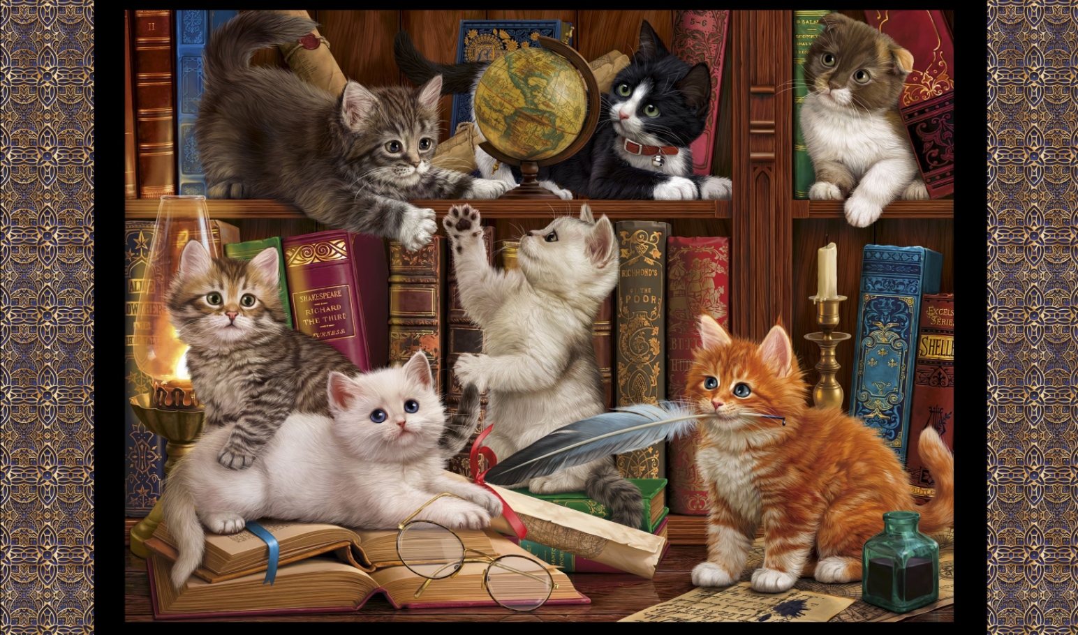Literary Kitties PANEL by Quilting Treasures (1649-28235-J)