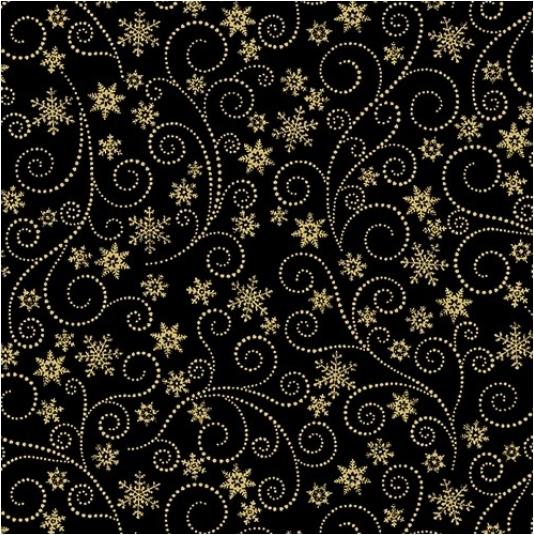 Swirling Frost Black (Winter Elegance) by Benartex (836M-12)