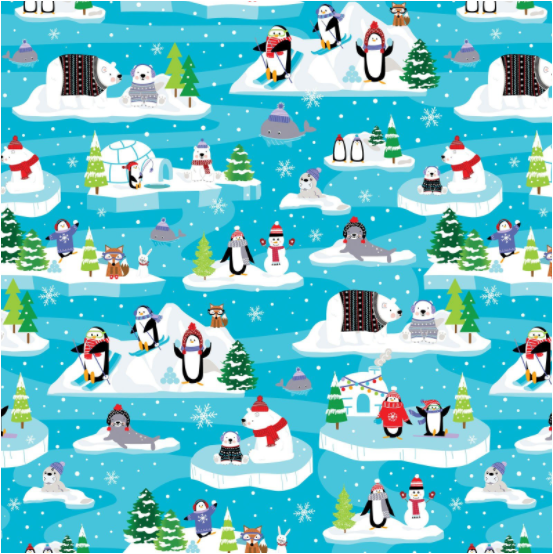 Snow Fun Scenic Turquoise (Snow Place Like Home) by Kanvas Studio for Benartex (9864-84)
