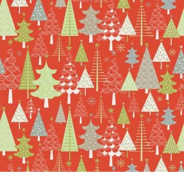 A Merry Christmas Trees FLANNEL Red by Riley Blake Designs (F3371-RED)