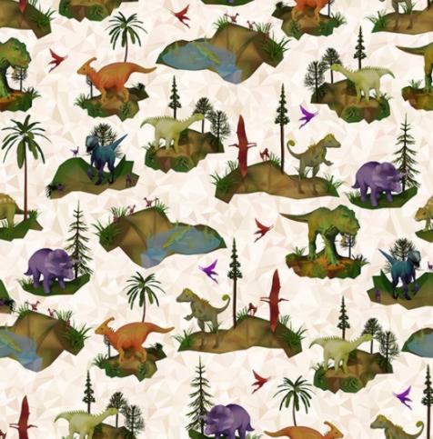 Dino-Mite (Cream) by Hoffman Fabrics (S4765-33-CREAM)