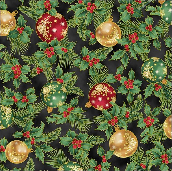 Joyful Traditions (Black/Gold) by Hoffman Fabrics (T7751-4G-BLACK/GOLD)