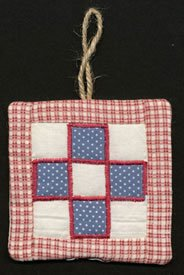 Quilted Ornament with Jute Loop, 3 x 3 inch set of 6 red