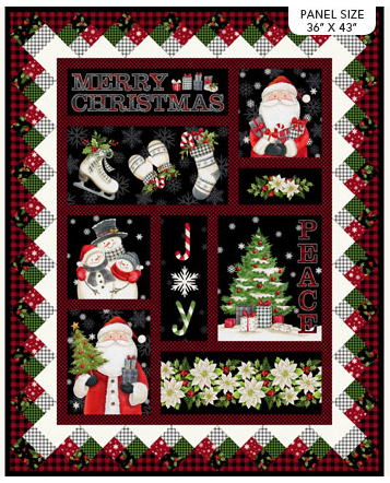 FARMHOUSE CHRISTMAS by Northcott BLACK MULTI DP23493-99