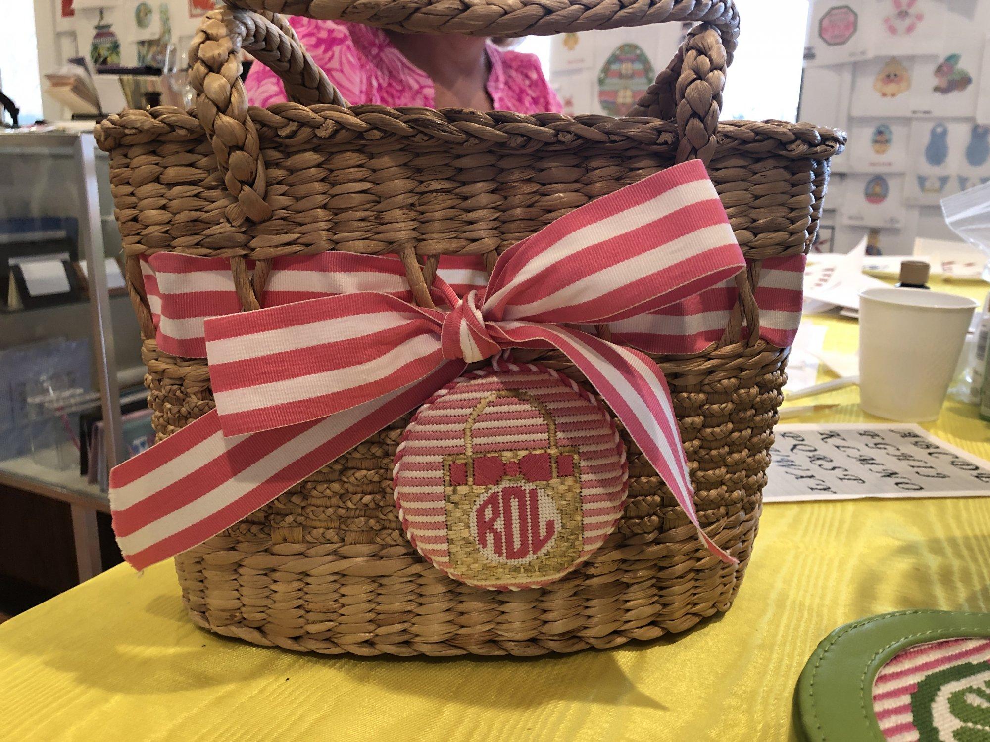Rachel Donley Straw Tote Basket Round