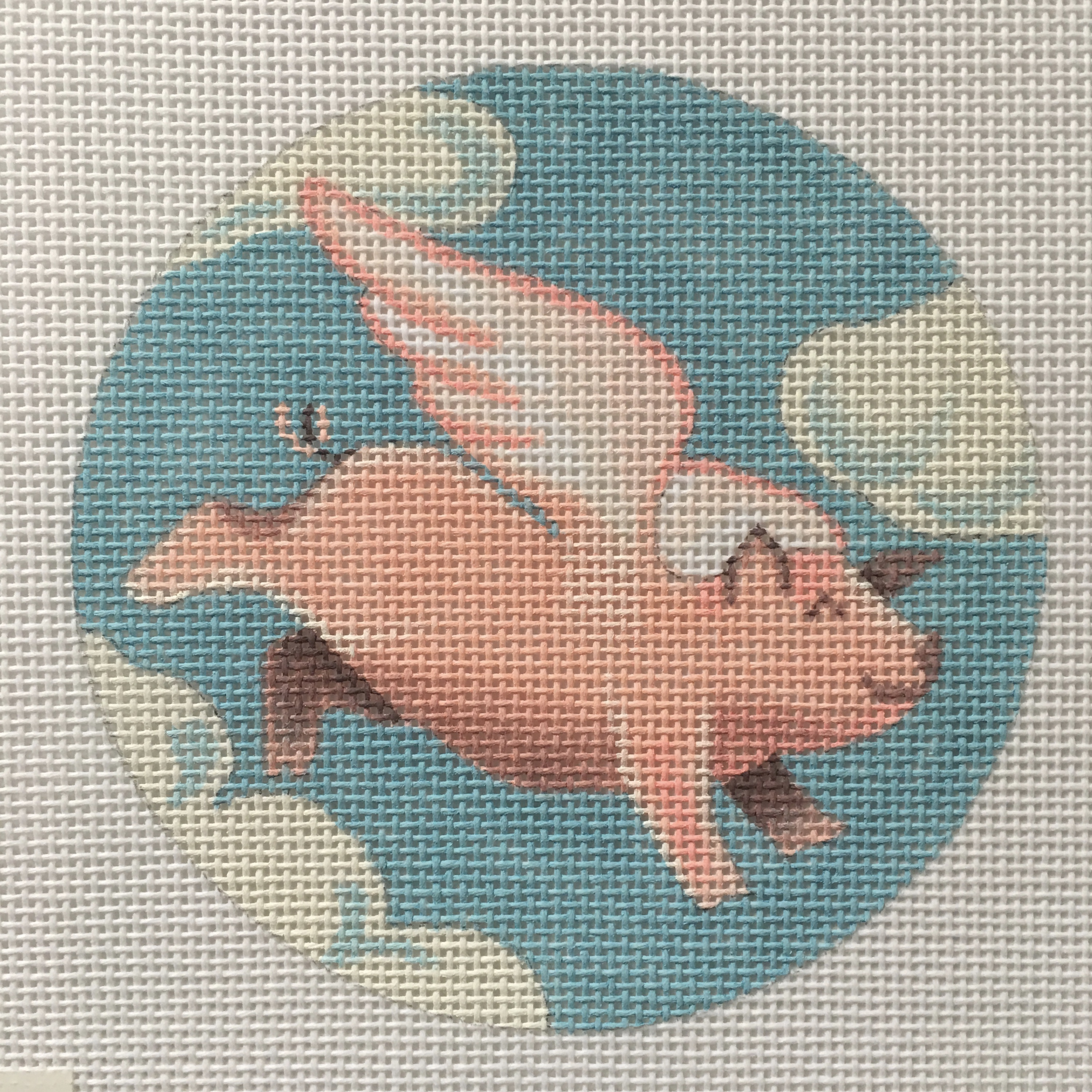 Flying Pig w/ Clouds Christmas Round by Pepperberry Designs