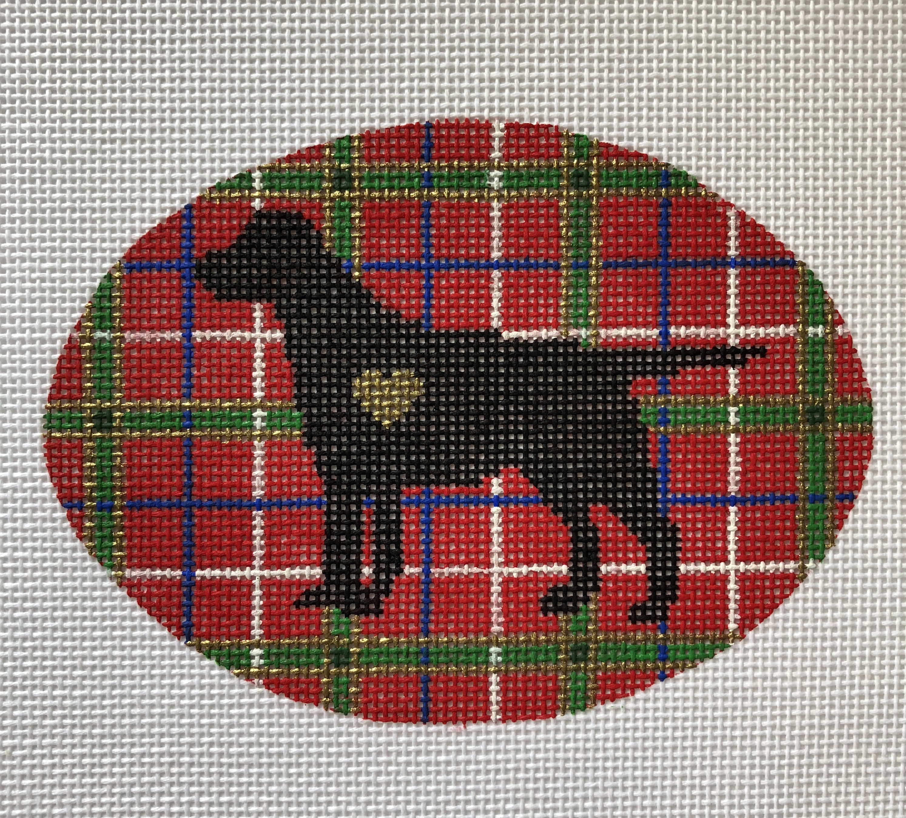 Plaid Labrador Christmas Round by Pepperberry Designs