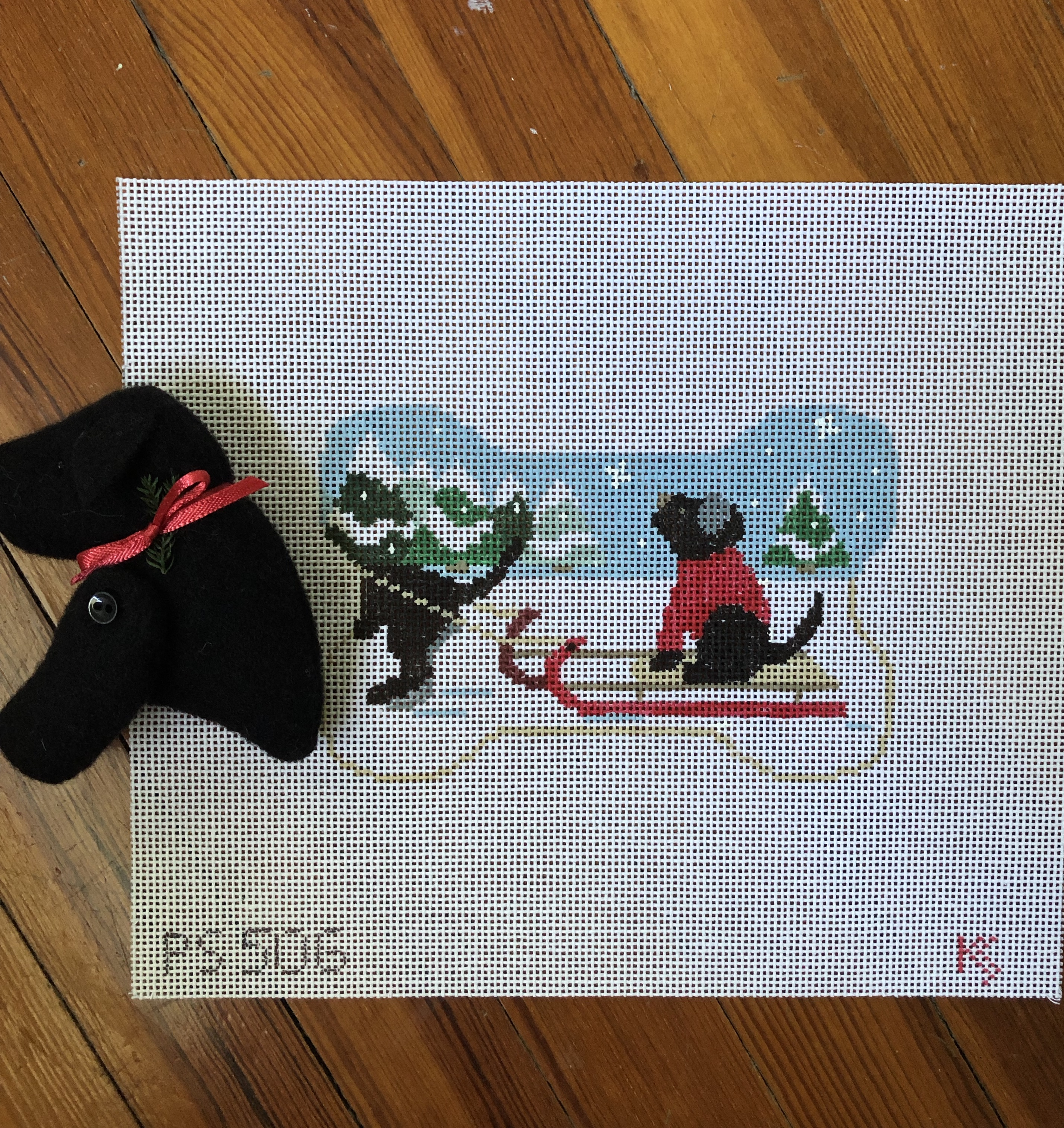 Kathy Schenkel Sledding Santa w/Black Lab