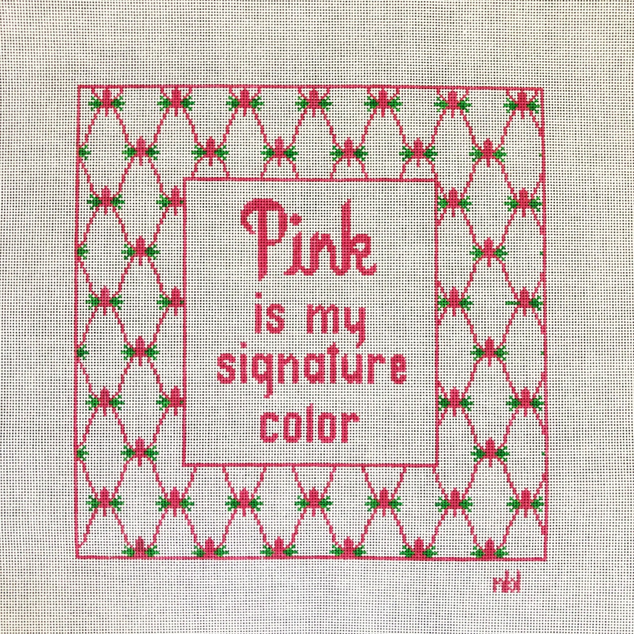 Needlepoint by Laura Pink is My Signature Color