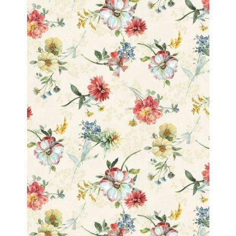 Sketchbook Garden Flowers with cream bckgrd