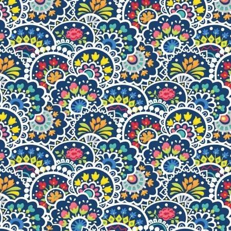 Benartex Bree Blue w/multi colored design
