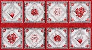 two thirds yard Scarlet Holiday Flourish Panel