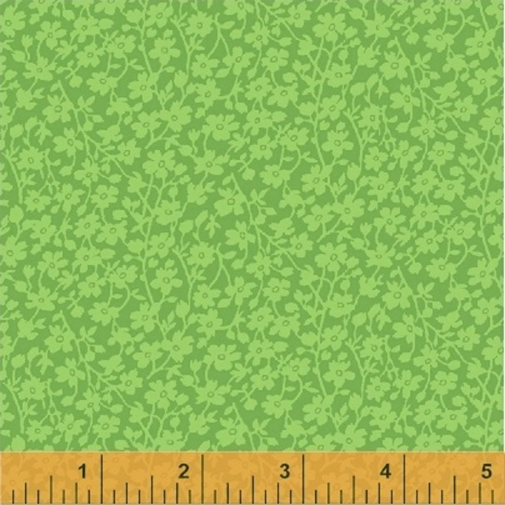 Green Mono Floral Backing 108 n by Windham