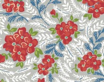 Windham Fabrics Hazel Large Red Flowers on Grey