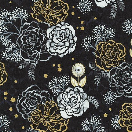 Silverstone black with gold and silver flowers