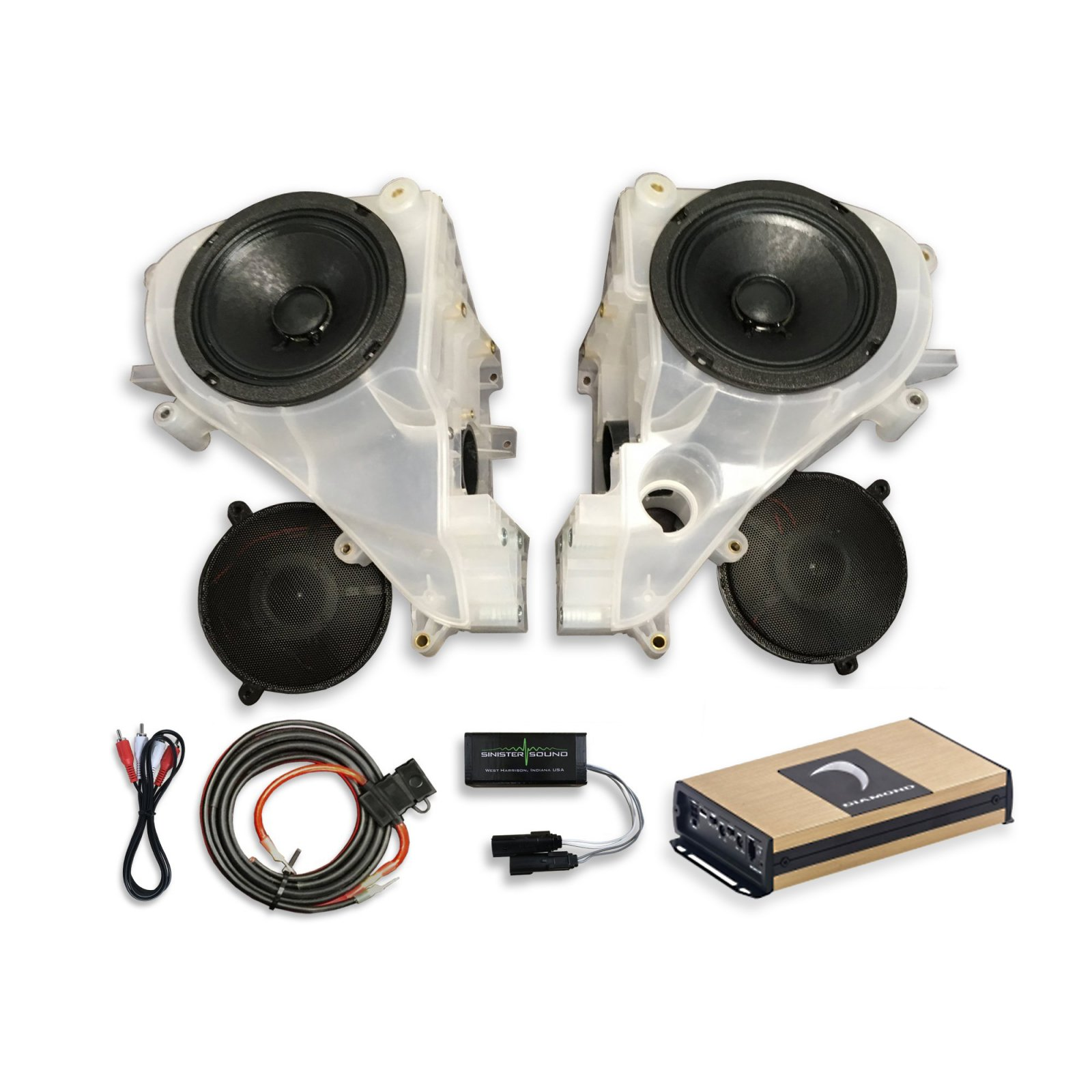 14-18 Street Glide SinisterSound Fairing System w/Diamond Micro 2v2 and Line Level