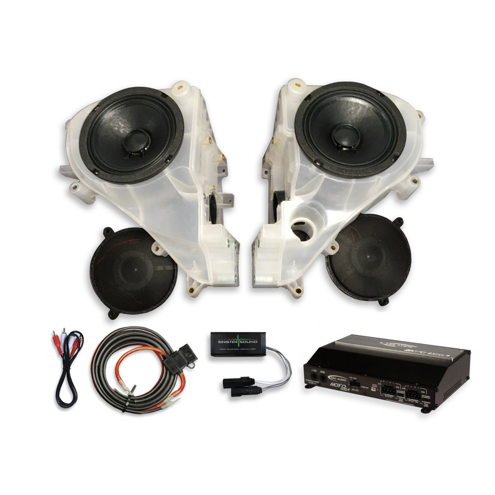 14-18 Street Glide SinisterSound Fairing System w/Arc Audio Moto720 and Line Level