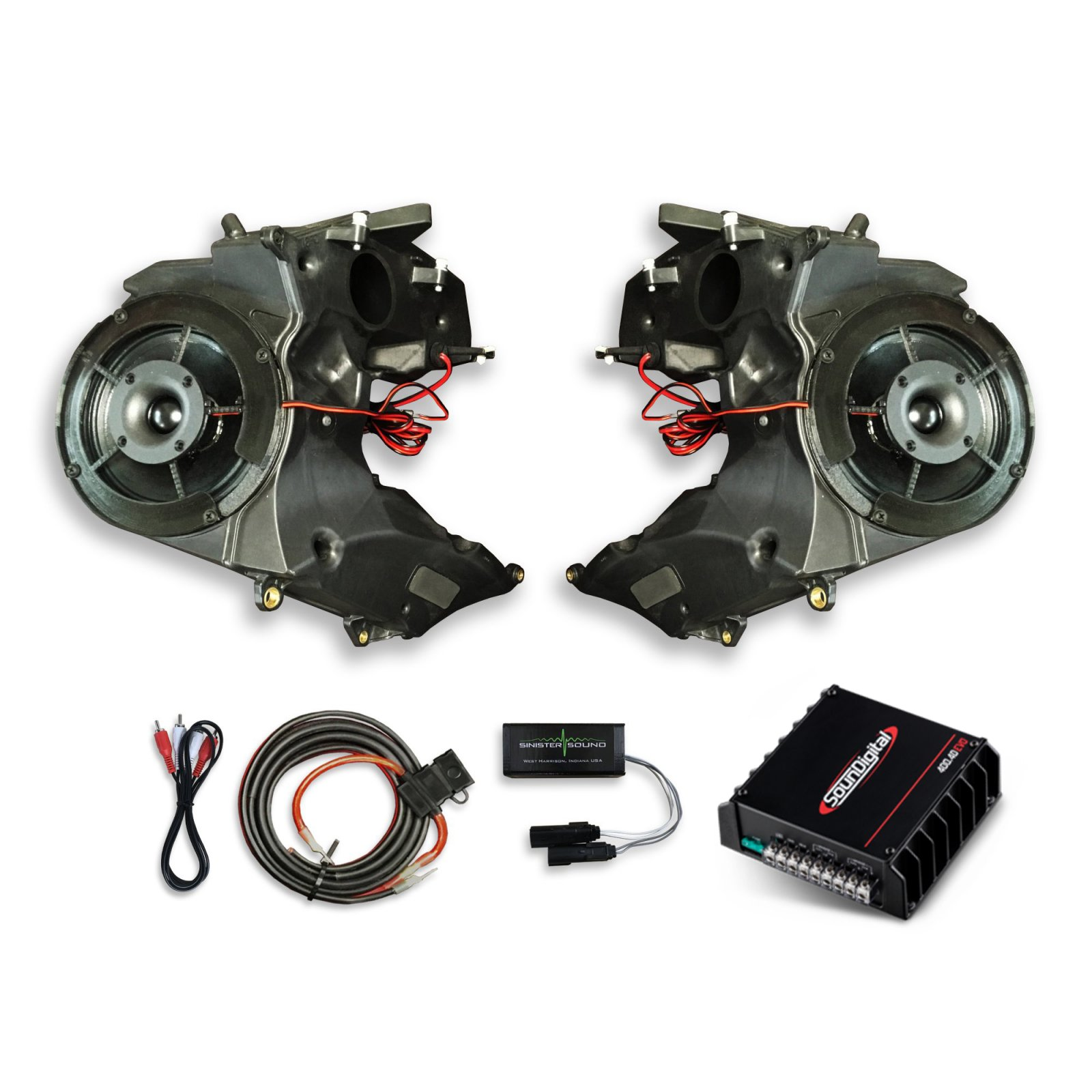 15-18 Road Glide SinisterSound Fairing System w/SounDigital 400.2D and Line Level