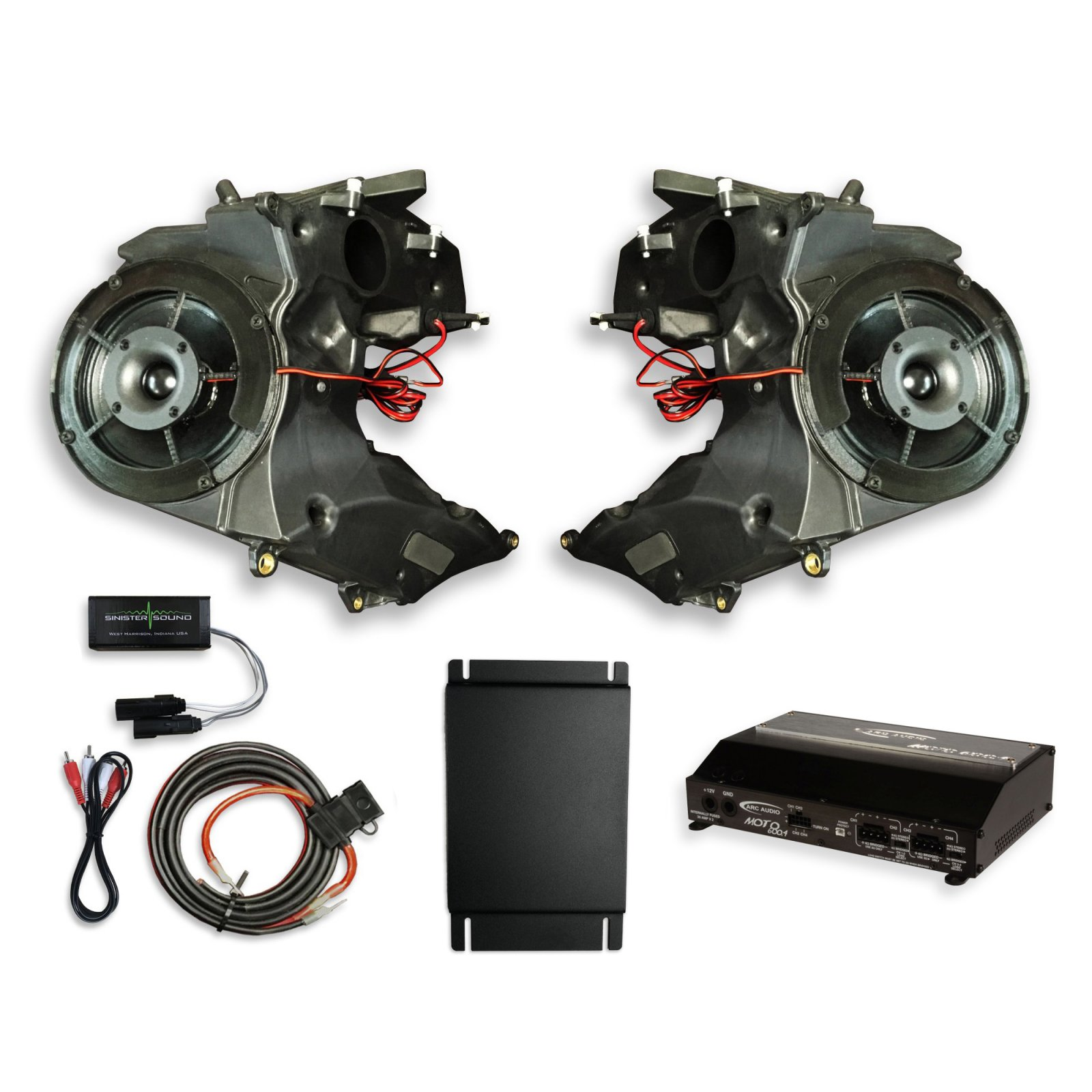 15-18 Road Glide SinisterSound Fairing System w/Arc Audio Moto 720, RG15 and Line Level