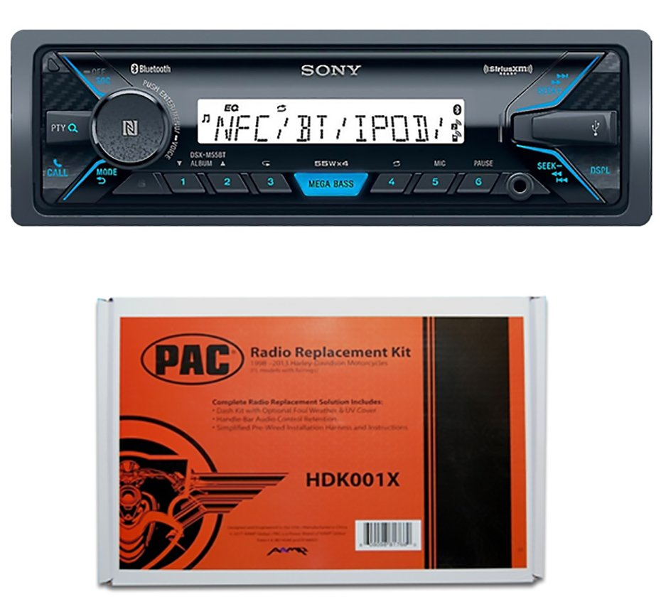 Sony DSX-M55BT marine radio, mounting kit, and pac adapter
