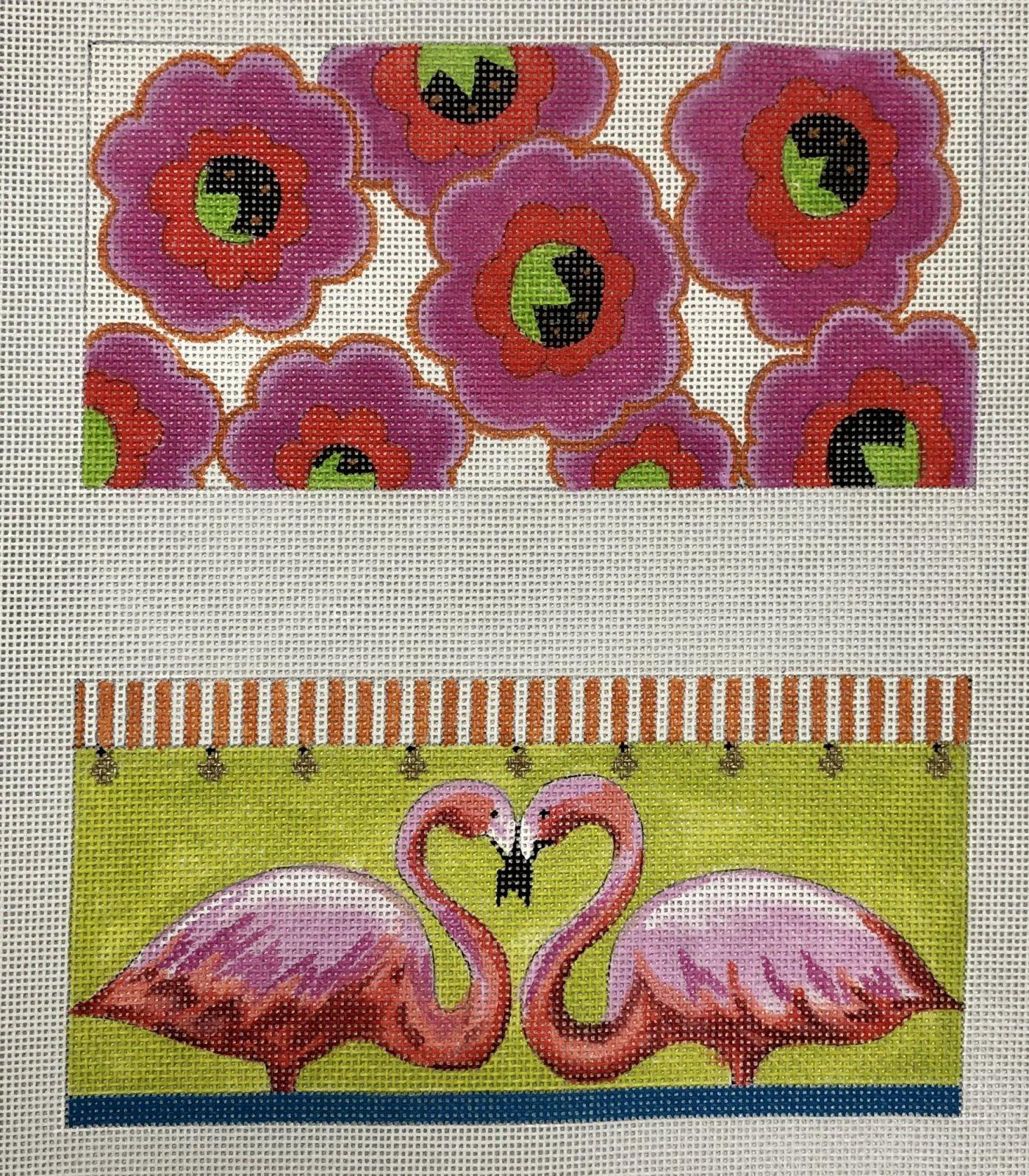 flamingo floral front/back eyeglass case
