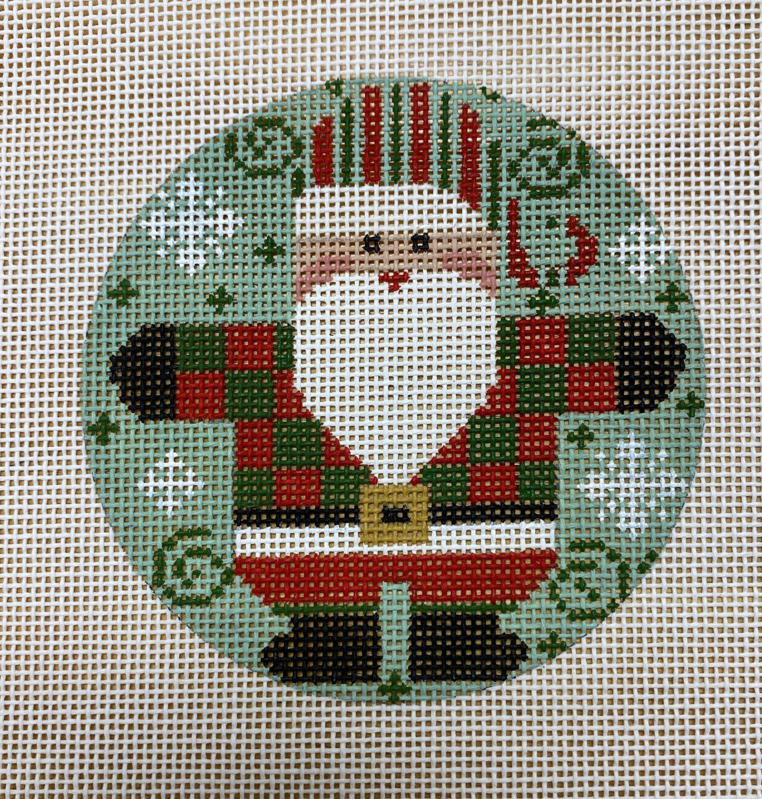 checkered red & green coat santa