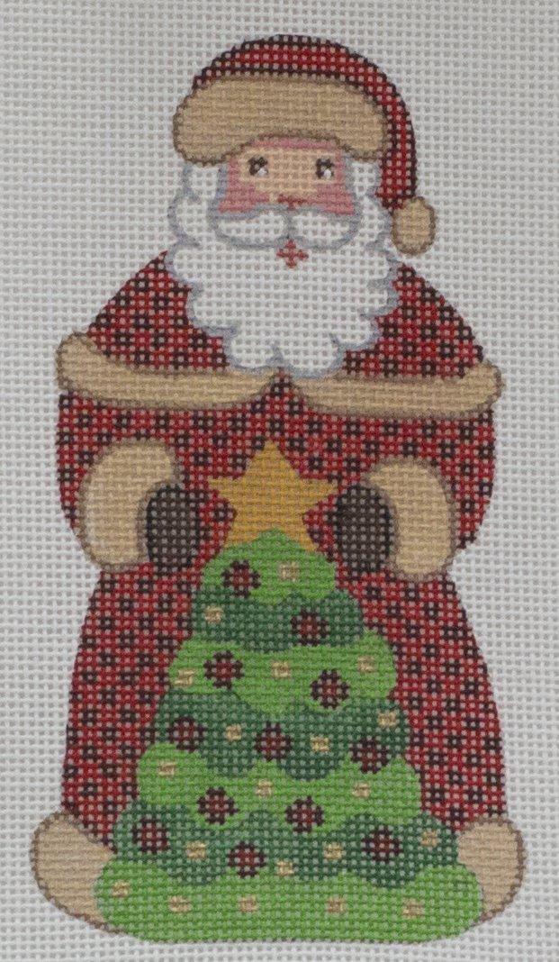 santa with starred tree