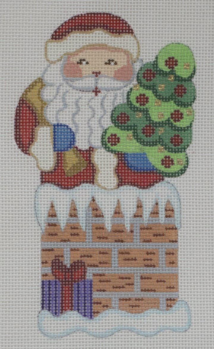 santa in chimney w tree