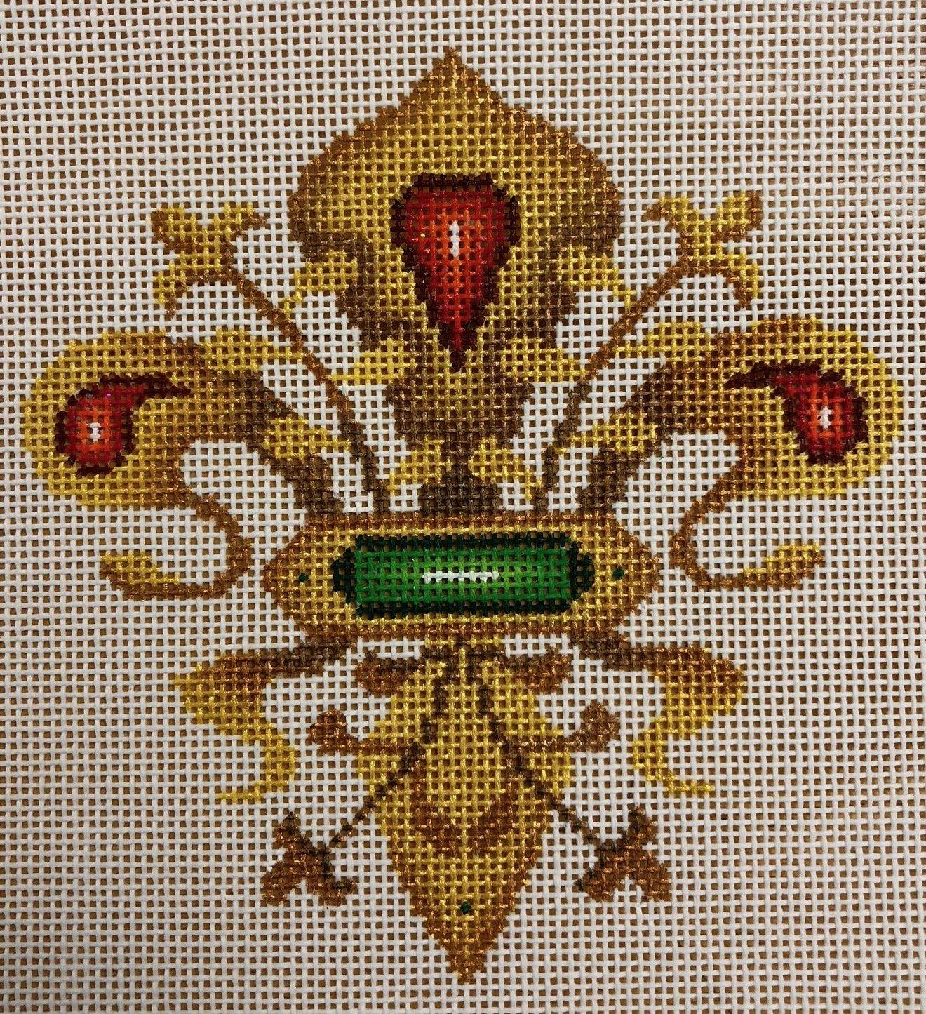 fleur de lis, gold, red & green