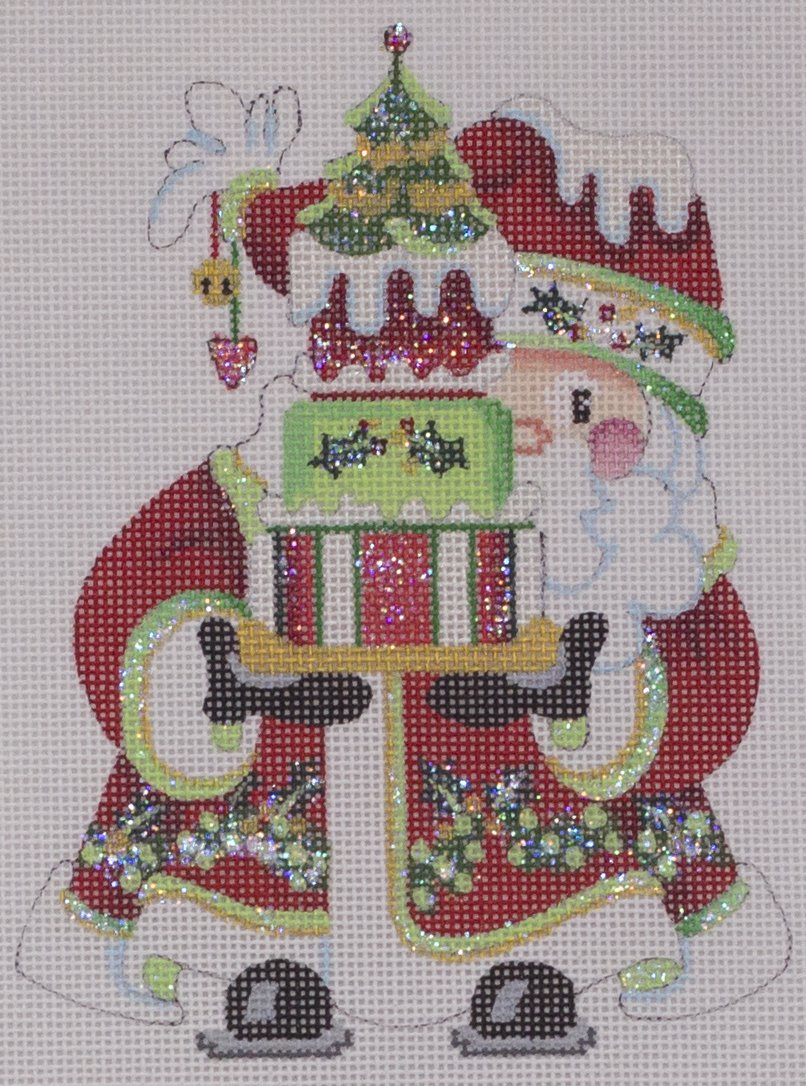 santa ornament w cake topper