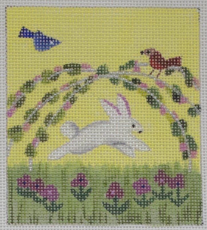 bunny bouncing in garden*