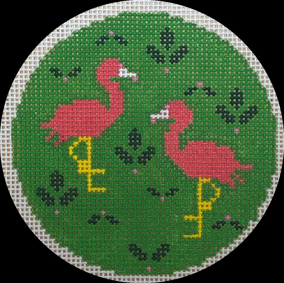 pink & green flamingos w holly