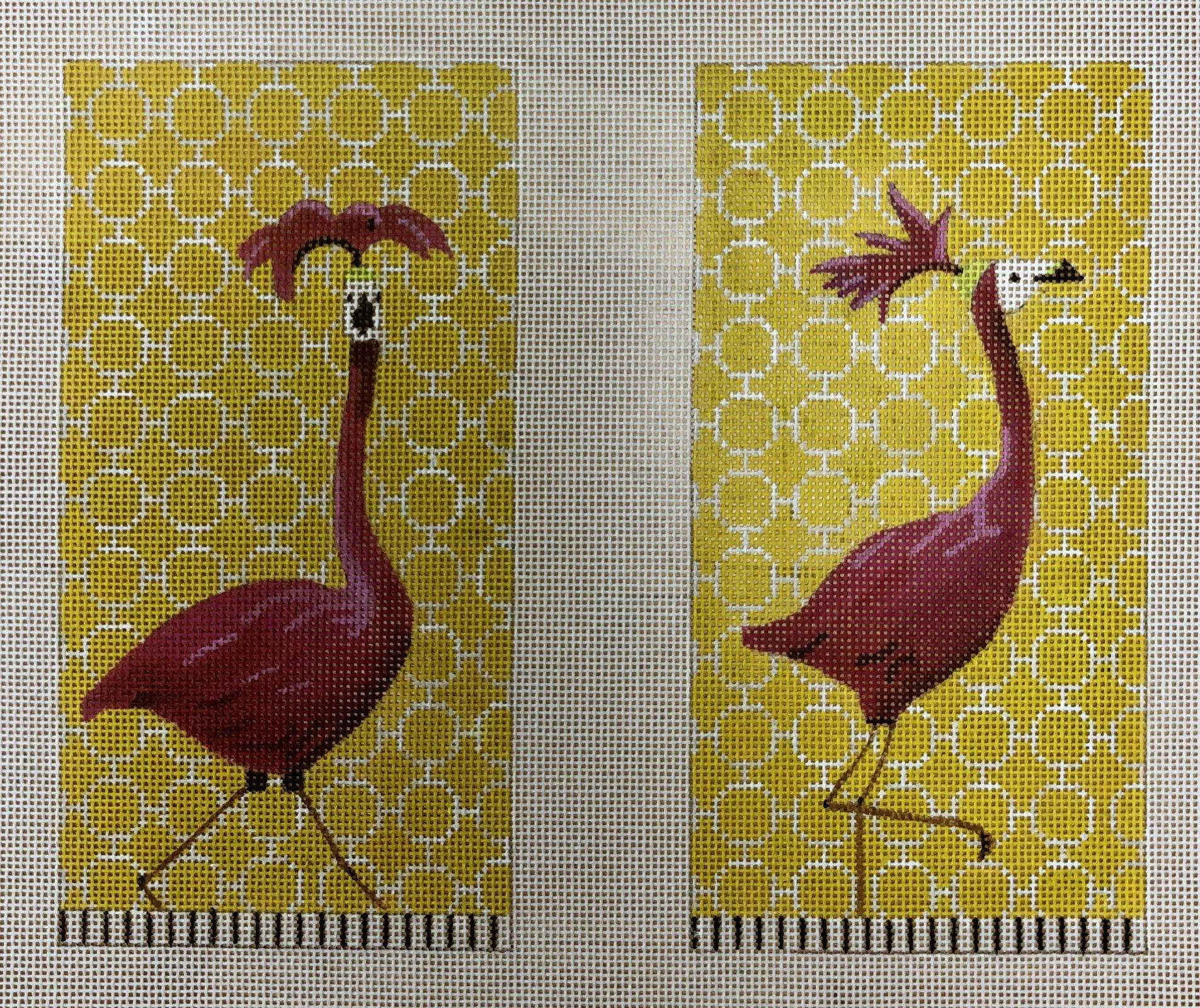 flamingo w hat front/back eyeglass case