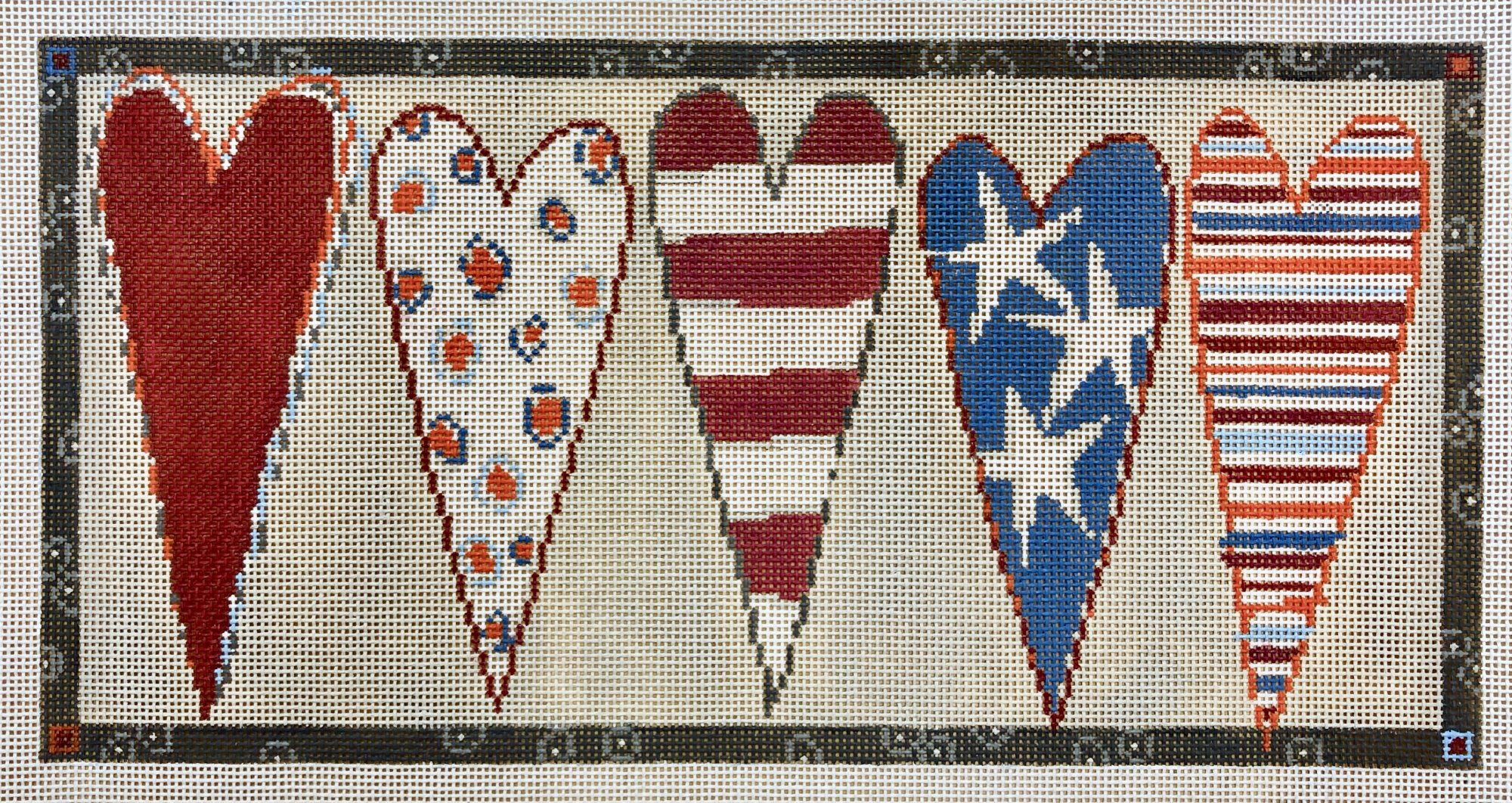 stars & stripes hearts bolster