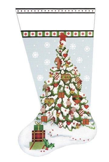 christmas heart tree sock